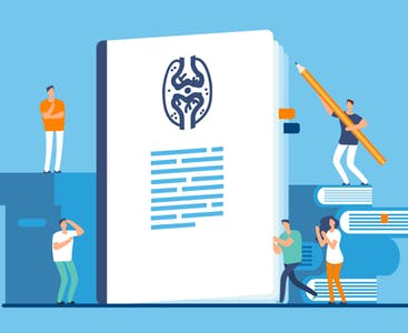 A giant, illustrated medical document surrounded by human characters.
