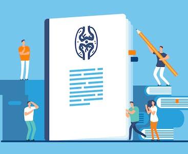 Un gigantesco documento medico illustrato circondato da personaggi umani.