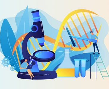 Illustration of a tiny person next to a large microscope.