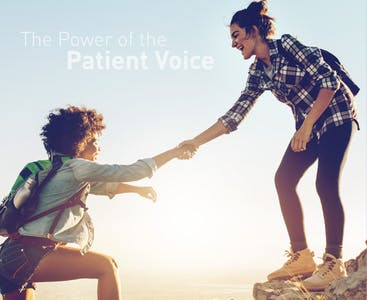 """Two women help each other hike up a mountain with the words """"The Power of the Patient Voice"""" in the background."""