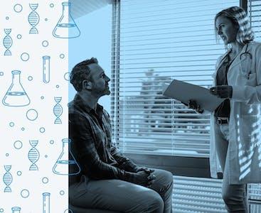 Un uomo si siede e discute con il suo medico in un ufficio, accompagnato da illustrazioni di ricerca.