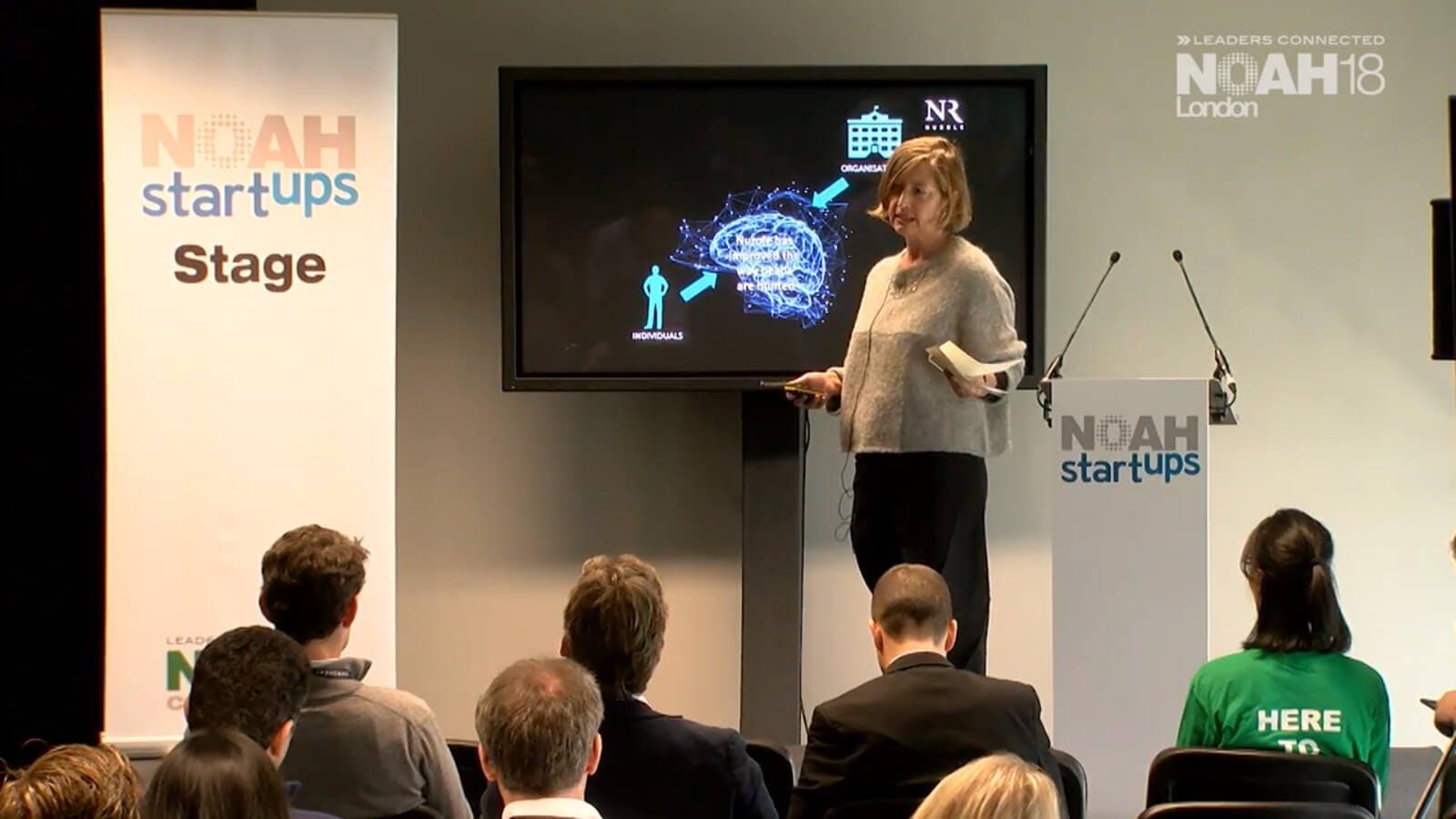 Nurole's CEO, Susie Cummings, speaking at London tech conference, Noah start ups