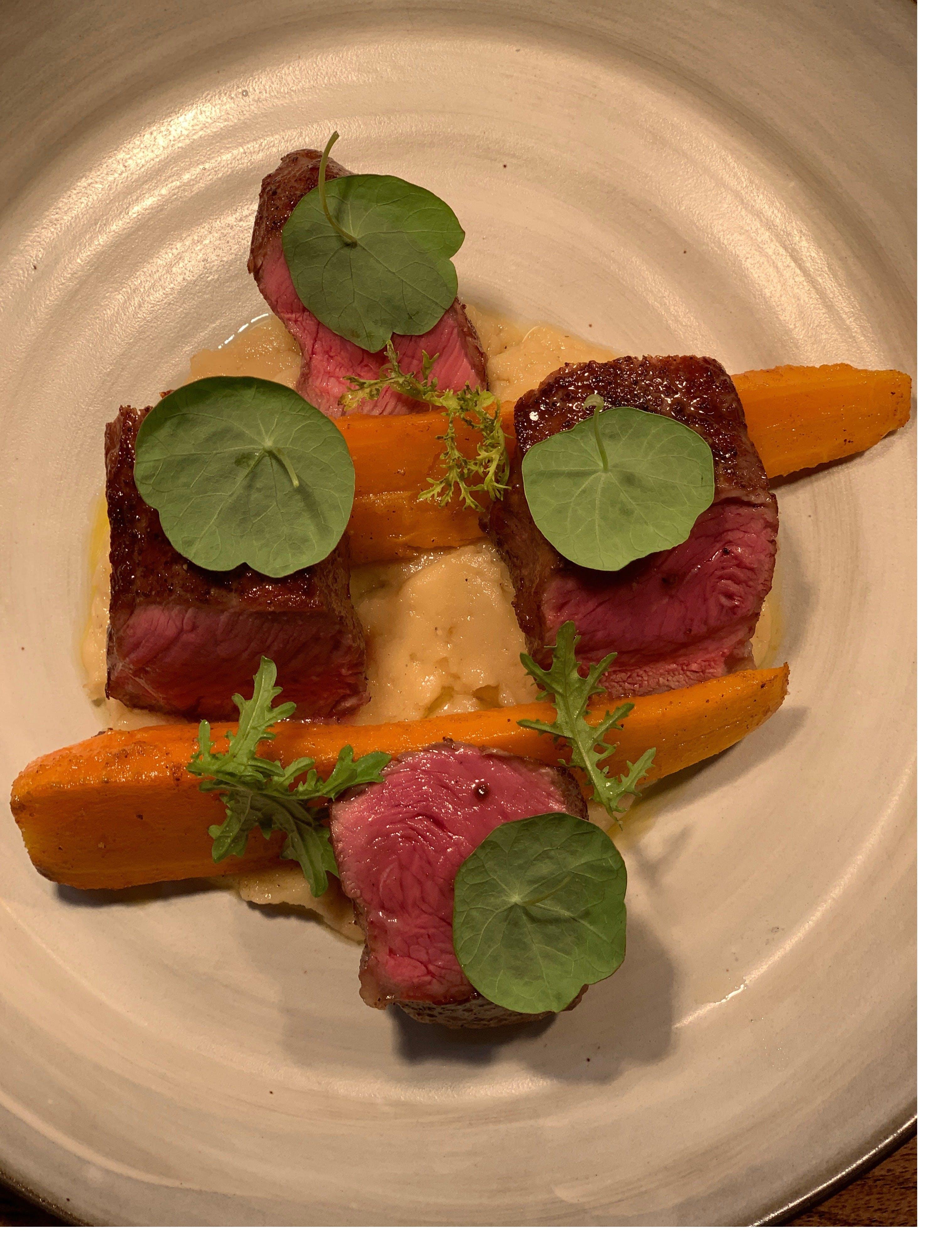New York Strip, Roasted Potato Puree, Braised Carrot, Bordelaise