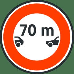 Señal de separación mínima entre vehículos.