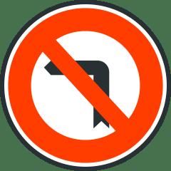 Señal de giro prohibido en la vía.