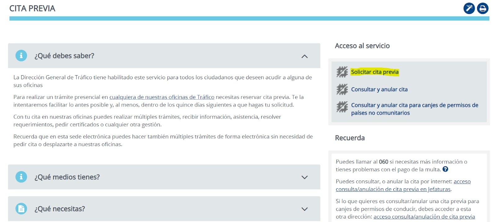 Página web de la DGT