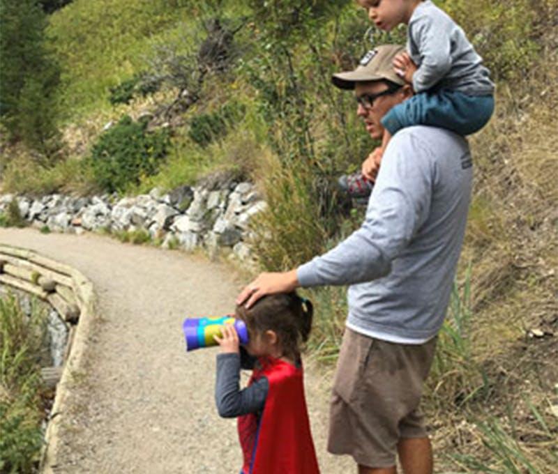 John Nehring enjoying a hike with his kids