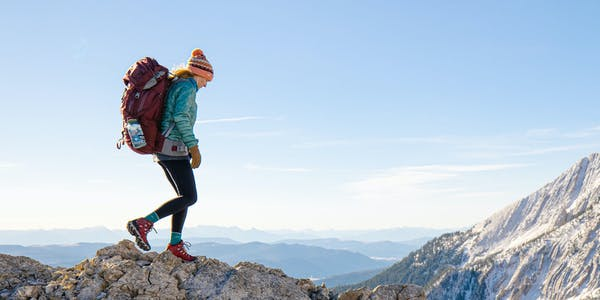 Women hiking on a ridge