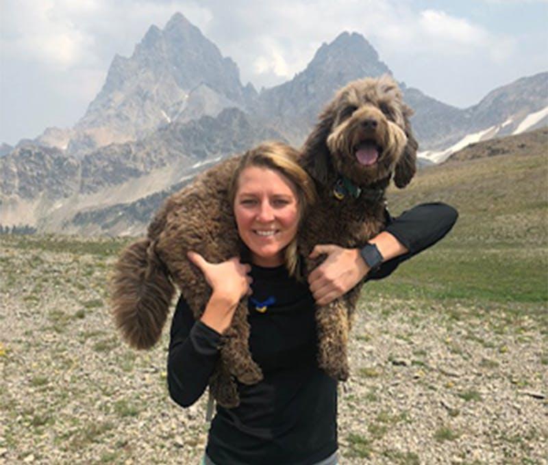 Megan Shiverdecker holding her dog