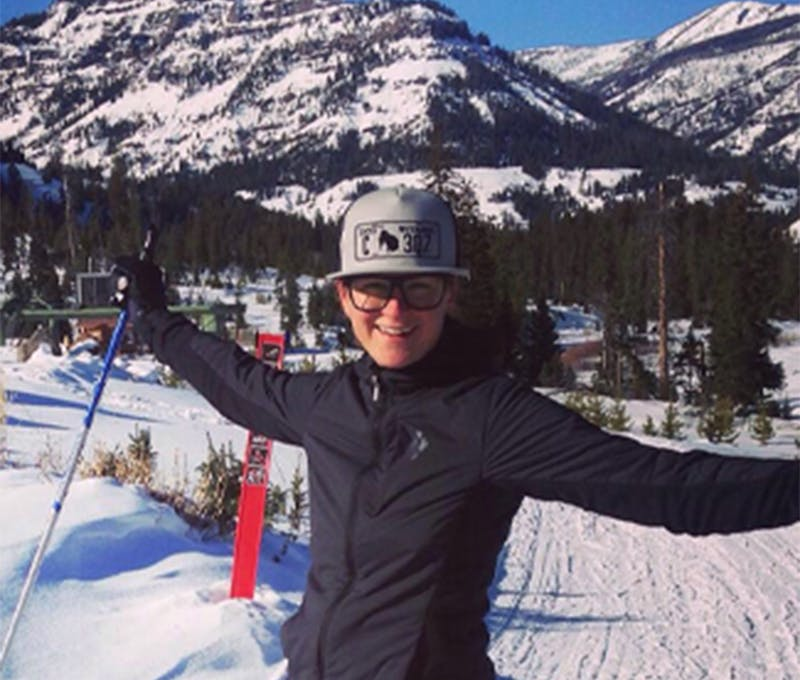 Krystina Beatty enjoying a nice ski session