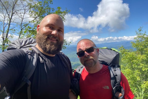 Backpacking the Smokies with my loving partner, Chuck. Image credit: James Evert