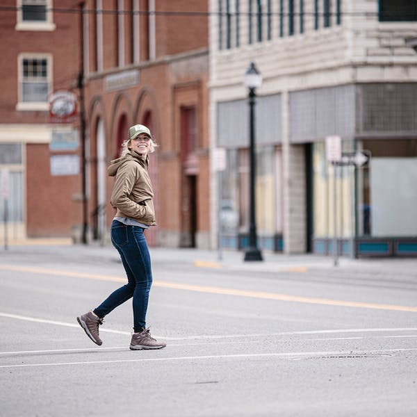 Strolling up Bozeman's Main Street in the Sypes Mid boots