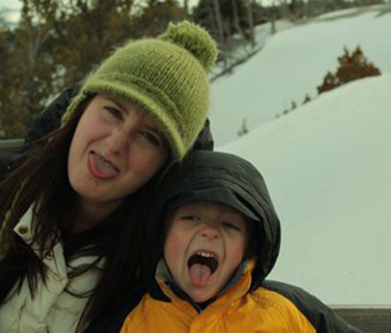 Jeni Anthon having fun with her son