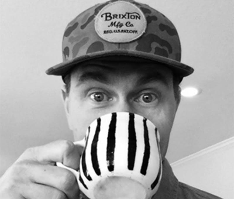 Brian Krezel drinking coffee