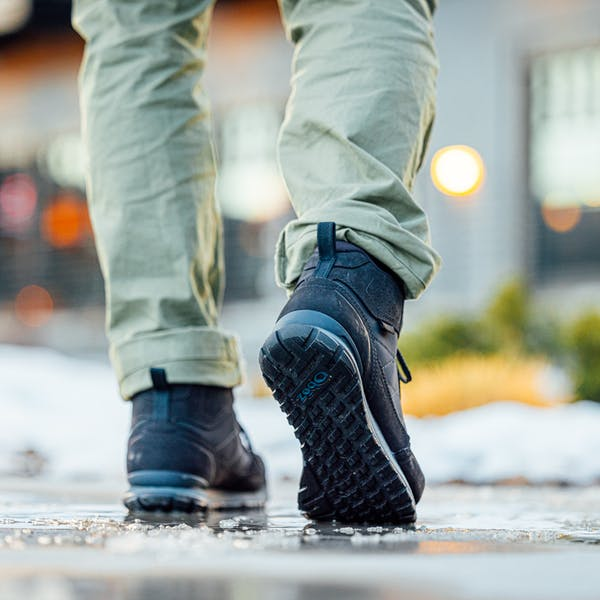 Walking in the Bozeman on the wet, icy street