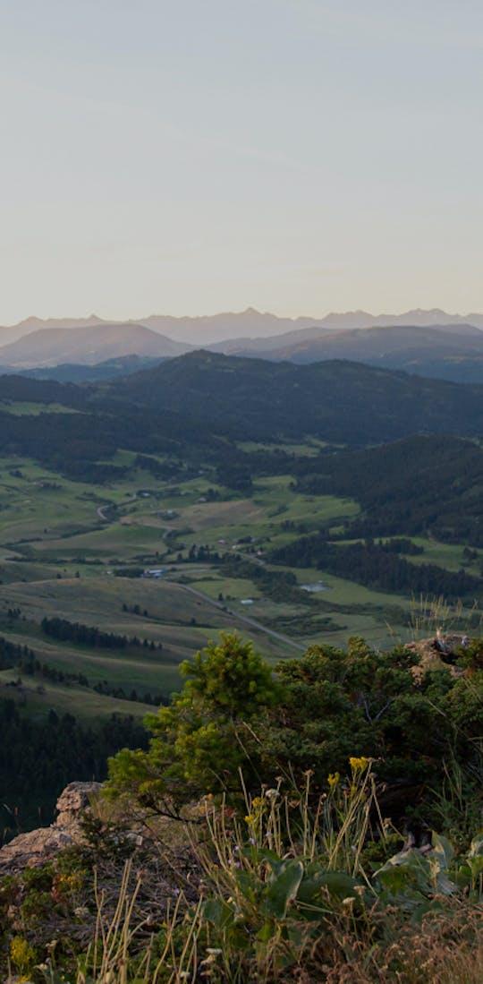 Jackie Nourse overlooking mountain views