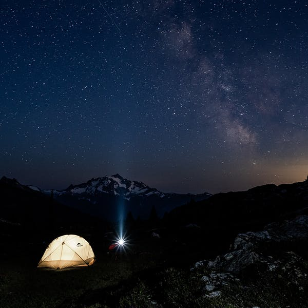 Camped under the night sky