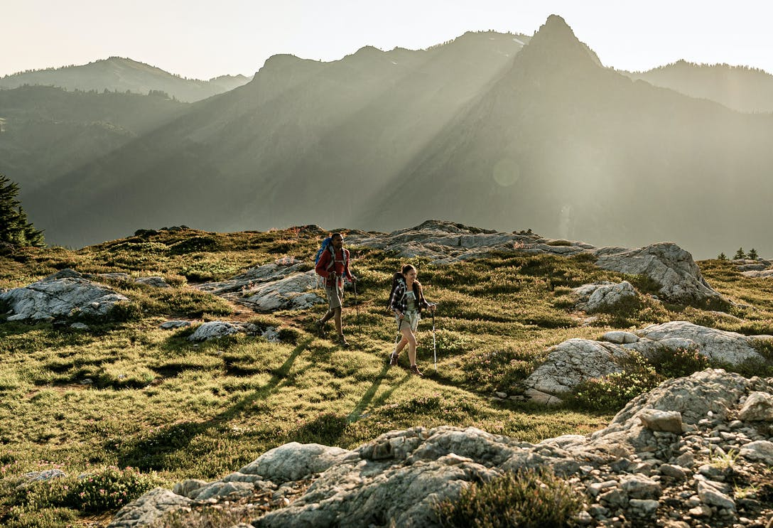 Two hikers on a rocky trail