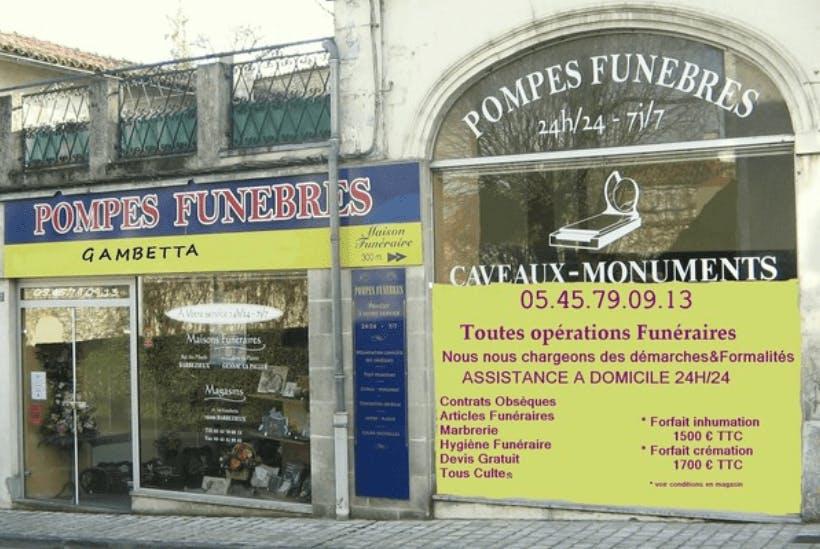 Photographie de la Pompes Funèbres Gambetta de Barbezieux-Saint-Hilaire