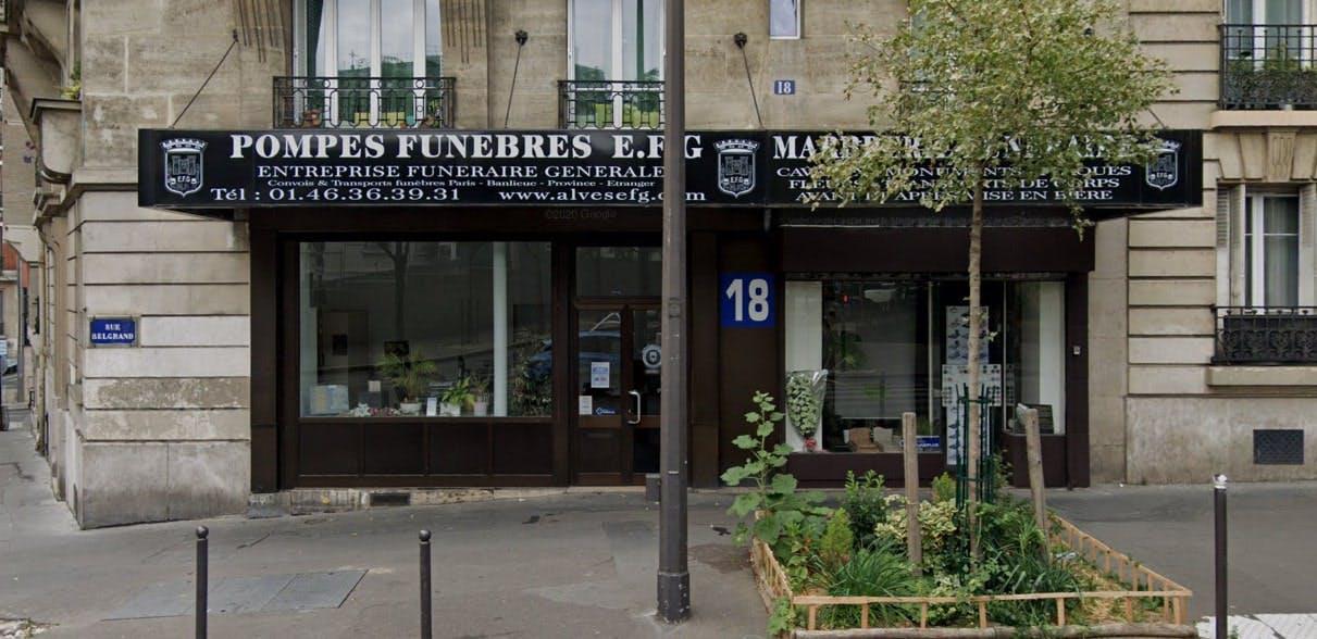 Photographies des Pompes Funèbres Marbrerie Alves E.F.G à Paris