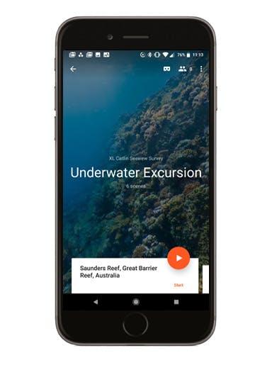 Underwater Excursion phone screen mockup