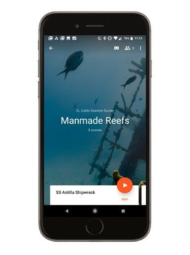Manmade Reefs phone screen mockup