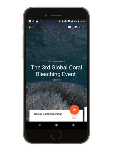 The 3rd Global Coral Bleaching Event phone screen mockup