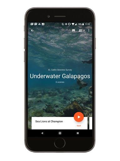 Underwater Galapagos phone screen mockup