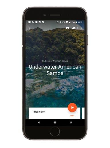 Underwater American Samoa phone screen mockup
