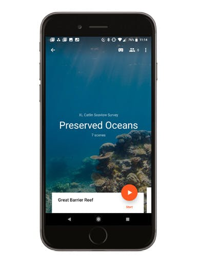 Preserved Oceans phone screen mockup