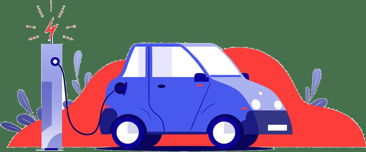 Illustration recharge voiture électrique
