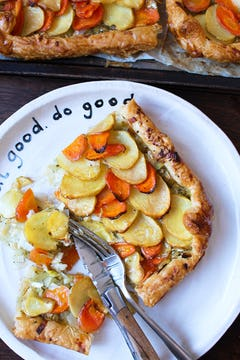 Potato, carrot and leek galette in Oddbox plate