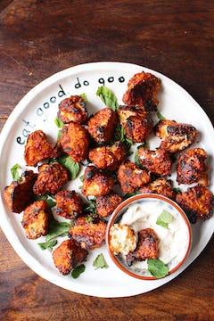 Cauliflower nuggets in Oddbox plate