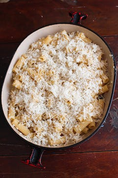 cheese added on top of the pasta