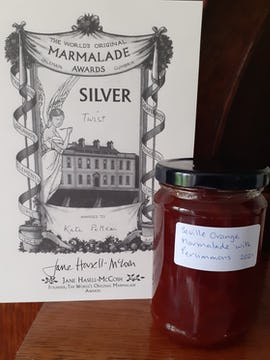 A persimmon and Seville orange marmalade made by Catherine, a member of our community.