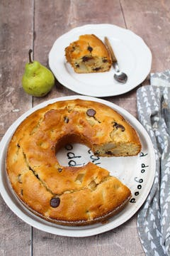 image of pear, chocolate and olive oil cake