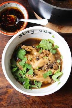 Wontons soup in Oddbox bowl