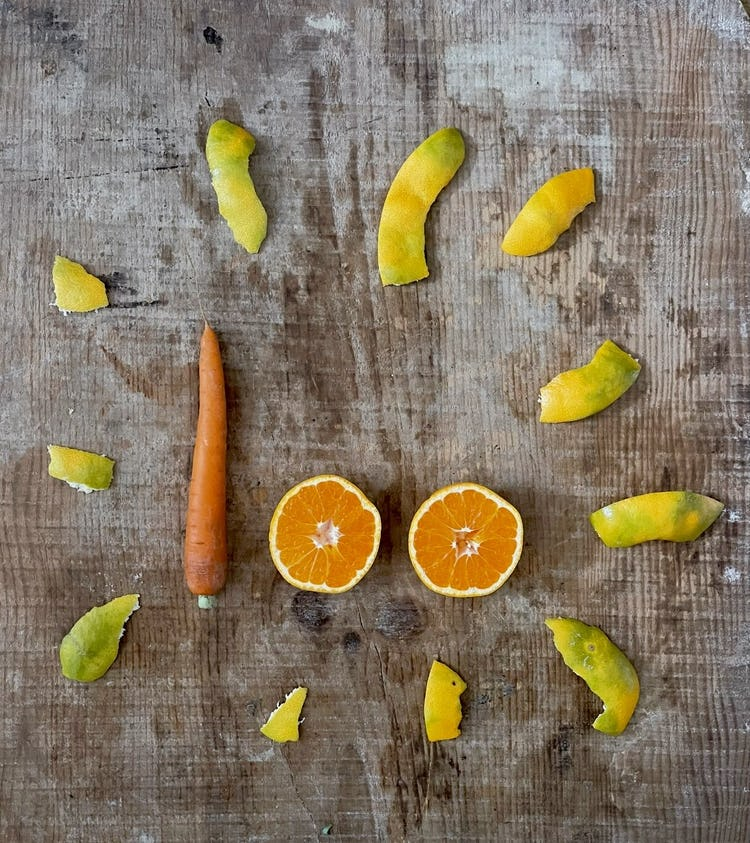 image of carrot, orange and peel