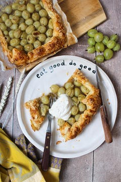 plate with piece of Gooseberry Galette topped with creme fraiche and cutlery