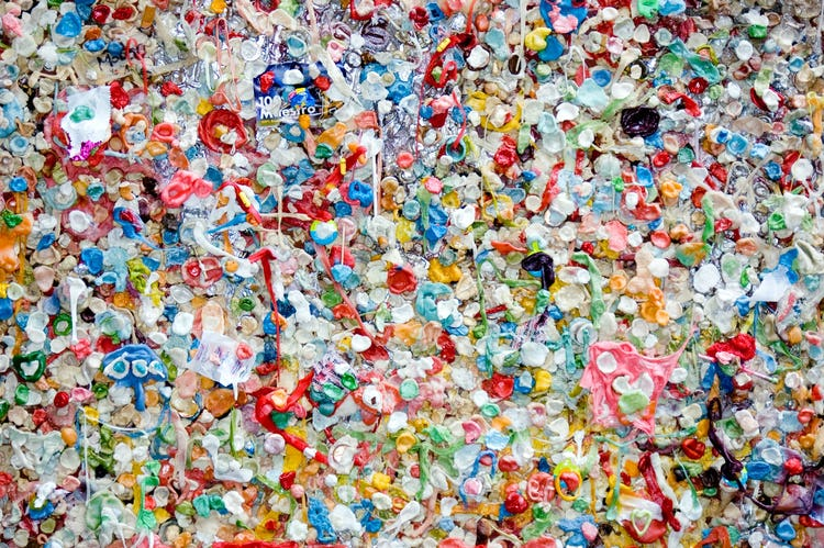 lots of colourful plastic waste