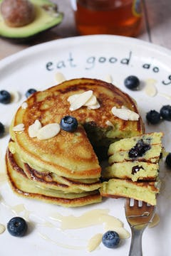 plate with avocado pancakes