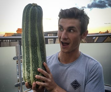 Our guest poster George from Biffen Kitchen, holding a marrow bigger than his head!