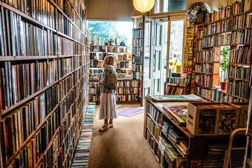 A customer in a bookshop browsing the shelves.