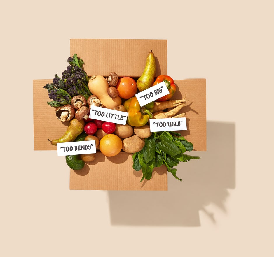 Topdown view of an Oddbox fruit and vegetable box