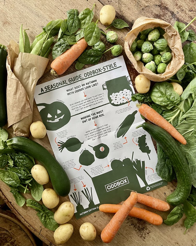 Fruit and veg spread out on a table with the seasonal guide in the center