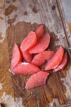 peeled pink grapefruit slices