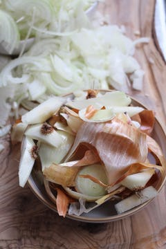 bowl of onion peel and finely chopped onion on the side