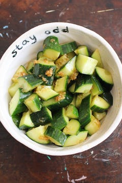 combined ingredients for cucumber salad