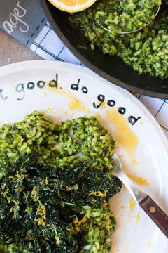 cooked and served cavolo nero risotto