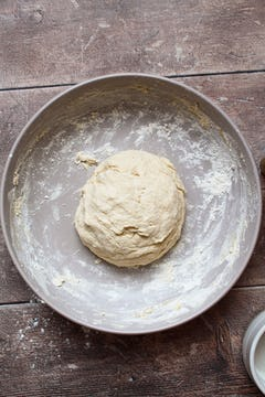 formed dough on a bowl